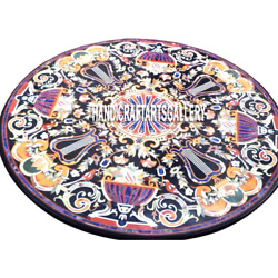 42 Black Marble Dining Table Top Multi Inlay Pietra Dura Floral Decors H3008a