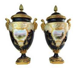 Pair Large 16 Inch English Coalport Porcelain Covered Urns W/ Goat Head Handles