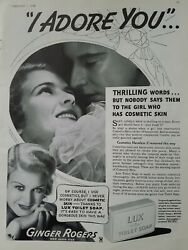 1935 Lux Toilet Soap Ginger Rogers I Adore You Vintage Cosmetic Skin Ad