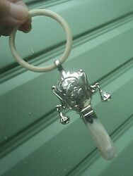 Silver Nursery Rhyme Baby Rattle Hm1920 Adie And Lovekin Cow Jumped Over The Moon
