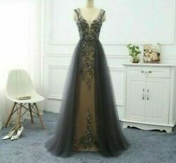 Evening Dress Long Gown For Women With Train Elegant A-line V-neck Beads Dresses