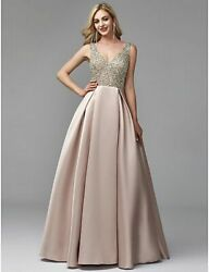 Evening Dress Formal Gowns A-line Satin Elegant V-neck Party Beaded Top Wear New