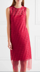 AKRIS Lips-Embroidered Sleeveless Sheath Midi Dress SZ 42 = US 10 -NWOT RT $3.6K