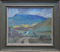 Peter Field British Post Impressionist 1950and039s Art Welsh Landscape Oil Painting