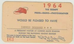 1964 Sandy Koufax No-hitter Gm Ticket Pass Los Angels Dodgers At Phillies Vg