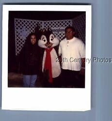 Found Color Polaroid E_8939 Man And Woman Posed With Chipmunk Character