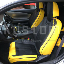 For 10-15 Camaro Coupe | Custom Fit Black Yellow Artificial Leather Seat Covers