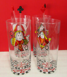 Playing Cards Queen Tumblers Mixers Clover Heart Spade Diamond Set Of 4 Glasses
