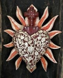 Red MILAGROS SACRED HEART with Cross CLEARANCE $59.88