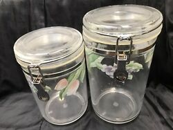 2 Pfaltzgraff Garden Party Impressions Acrylic Canisters W. Seals Vintage Jars