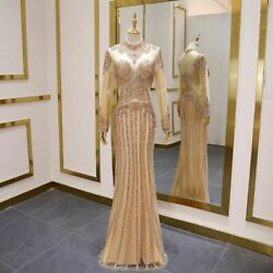 Long Sleeve Prom Dress Evening Gowns High Neck Sexy See Through Body Party Wears
