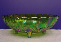 Indiana Carnival Glass Large Oval Footed Green Harvest Grape Fruit Bowl