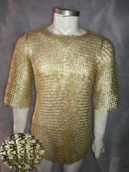 Brass Chainmail Shirt 9 Mm Flat Riveted With Warsars Medium Sizes