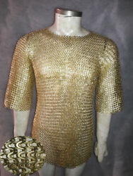 Brass Chainmail Shirt 9 Mm Flat Riveted With Warsar X Large Sizes V