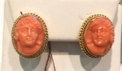 Great 18k Yellow Gold Coral Cameo Earrings Must See