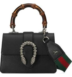Gucci Dionysus Black Mini Leather Satchel Strap Web Italy New Bag Handbag Star $2,999.99
