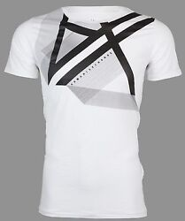 Armani Exchange Mens SS T-Shirt RIGHT SIDE UP Designer WHITE Casual S-2XL $45 $24.99