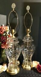 2-vintage Cut Crystal Lamps Brass Hollywood Glam Urn Heavy X-large 1/2 In Glass