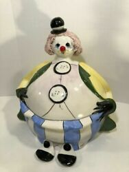 Vintage Zampive Spaghetti Hair Clown Signed Ceramic Xlbank Italy Collectible