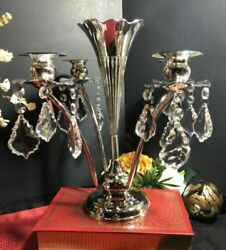 Vintage Silver Plated Epergne Art Nouveau /flower Candle Holders W/ Crystals Old