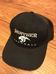 New Panther football black and silver adjustable mesh cap hat port authority