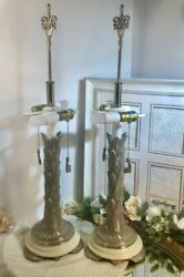 Vintage Rambrandt Lamps Pair Heavy Solid Brass Decorated Leaves Art Deco Glam /2