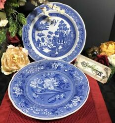 Vintage Spode Plates Blue And White -first Botanical And Willow England 2 Pc