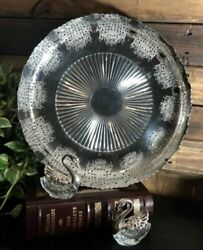 Silver Plated Footed Tray / Bowl Serving Prata 90 Art Portuguese Etched