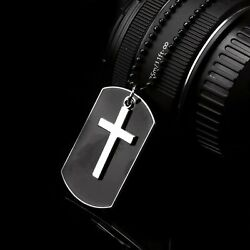 Men#x27;s Stainless Steel Black Cross Dog Tag Pendant Necklace w Beaded Chain Gift