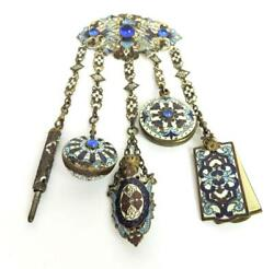 French Champleve Enamel Chatelaine / Brooch C.1880