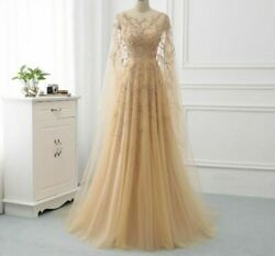 Evening Dress Long Gowns A-line Formal Women Wear With Wrap Tulle Beaded Dresses