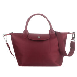 France Made Longchamp Small Neo Handbag Wine Red Auth Special Offer