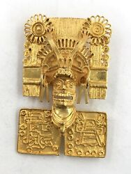 Vintage 18k Yellow Gold Aztec God Lord Of Dead Mask Pin Brooch Pendant