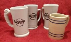 4 Different Buckeye Root Beer Pottery Mugs - All No Damage