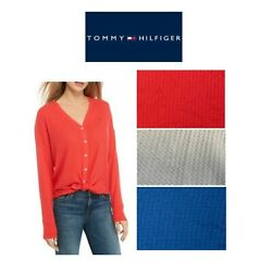 Tommy Hilfiger Womens Tie Waffle Cardigan Variety Pick Color Size NEW $10.99