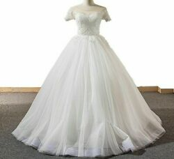 Ball Gown Wedding Dress Bridal With Short Sleeve Pearls Elegant Scoop Design New