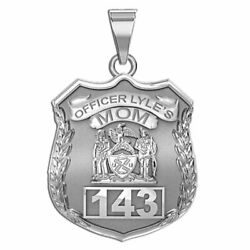 Police Mom Personalized Police Badge In Solid 10k 14k Gold Or Sterling Silver