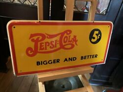 1936 Bigger And Better 20 Tin Pepsi Advertising Sign  Watch Video