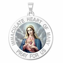 Immaculate Heart Of Mary Religious Medal 14k Yellow, White Gold, Sterling Silver