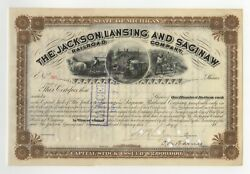 18-- The Jackson Lansing And Saginaw Railroad Company Stock Certificate