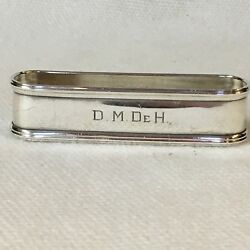 Webster Sterling Silver Napkin Ring Sleek Style Engraved Initials Marked