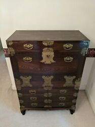 Antique Chinese Tigerwood Oak 8-drawer Chest Secretary W/brass Hardware And Coins