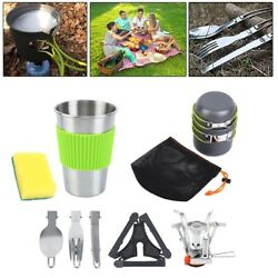 10Pcs Camping Cookware Mess Kit Backpacking Gear amp; Hiking Outdoors Bug Out Bag $22.59