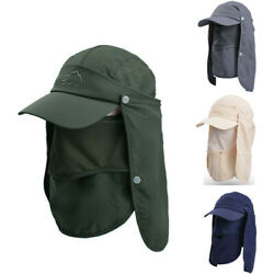 Hiking Fishing Ear Flap Sun Hat Outdoor Sport UV Protection Neck Face Flap Cap $10.57