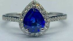 9,500 Certified 1.62 Ct Royal Blue Sapphire And Diamond Engagement Ring 14k Gold