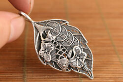 Chinese Standard Silver Leaf Fish Statue Pendant Netsuke Necklace Car Key Ring