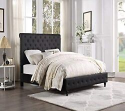 Contemporary Upholster Black Headboard And Footboard Tufted East King Size Bed 1pc