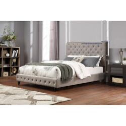 Contemporary Upholster Gray Headboard And Footboard Tufted East King Size Bed 1pc