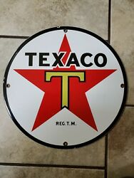 Vintage 1950's TEXACO GASOLINEOIL GENERALSTORE ADVERTISING PORCELAIN SIGN