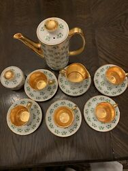 Rare 16pc Vintage Arklow 'patricia' Teaset Made Ireland Heavy Gold Accent Mint